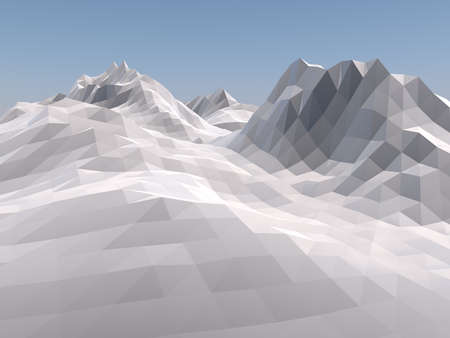 alpinism: Mountain low poly vintage style background. 3D rendering.
