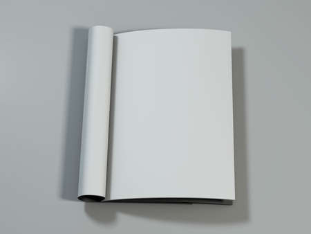 blank magazine: Open magazine with blank pages on white desk. 3D rendering.