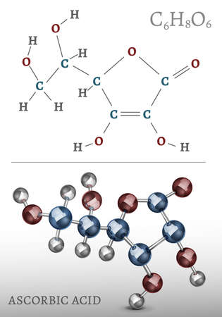 ascorbic acid: Ascorbic acid molecule, structural chemical volumetric formula. 3d vector illustration isolated on a white background. Chemistry and Biotechnology concept. Illustration