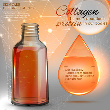 Beautiful vial with cosmetic oil. Premium shining serum droplet. Vector image. Transparent scientific concept in light grey and golden tones.