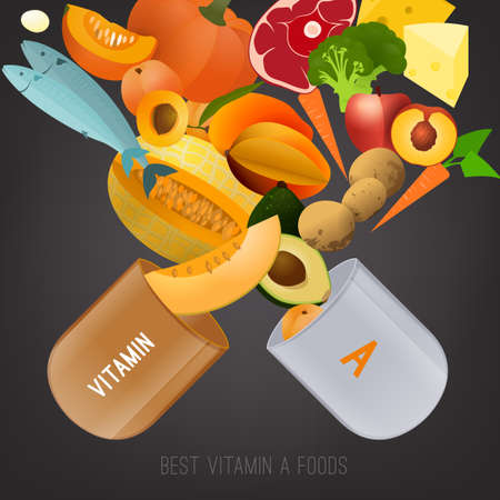 Set of healthy fruit, vegetables, meat, fish and dairy products containing vitamin A in the A letter shape. Food sources graphic information. Vector illustration in bright colors on a grey background. Illustration