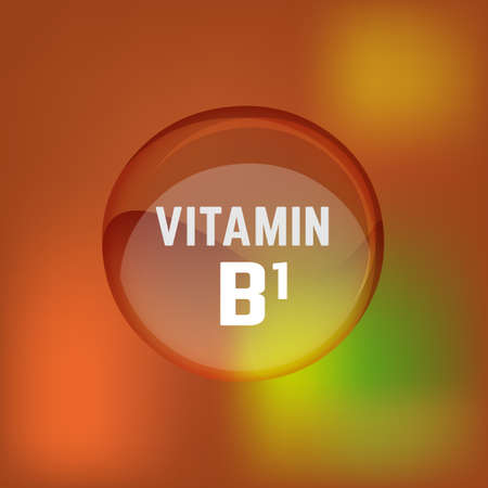 Vitamin B1 pill. Shining glossy circle droplet. Vector illustration in blue and light blue colours. Medical and pharmaceutical image. Illustration