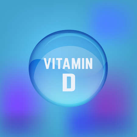 Vitamin D pill. Shining glossy circle droplet. Vector illustration in blue and light violet colours. Medical and pharmaceutical image.