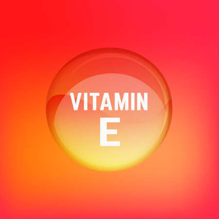 vitamin e: Vitamin E pill. Shining glossy circle droplet. Vector illustration in red and light orange colours. Medical and pharmaceutical image. Illustration