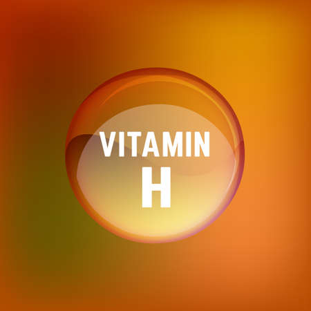 biotin: Vitamin H pill. Shining glossy circle droplet. Vector illustration in brown and light orange colours. Medical and pharmaceutical image.