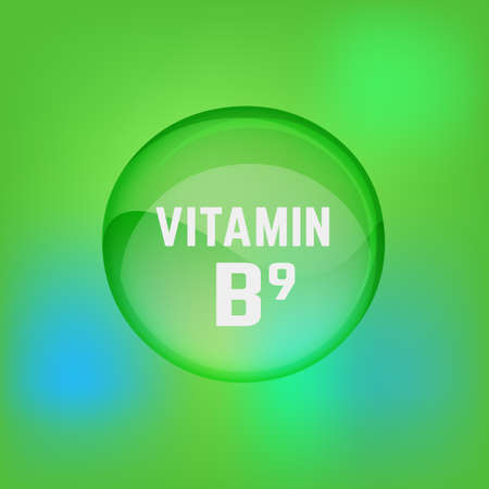 Vitamin B9 pill. Shining glossy circle droplet. Vector illustration in green and light blue colours. Medical and pharmaceutical image. Illustration