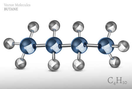 hydride: Butane molecule in 3D style. C4H10 vector illustration isolated on a light grey background. Scientific, educational and popular-scientific concept.