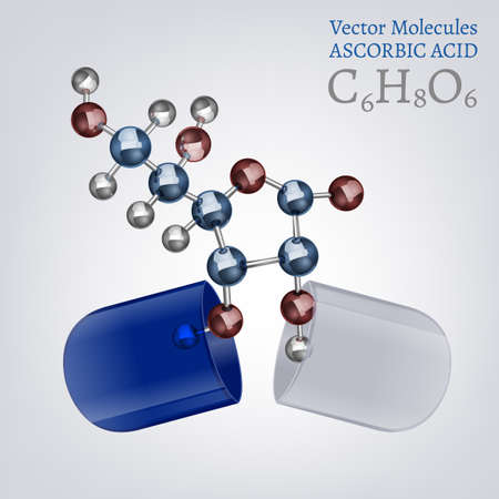 ascorbic: Ascorbic acid molecule, structural chemical volumetric formula in the open capsule. 3d vector illustration isolated on a white background. Chemistry and Biotechnology concept.
