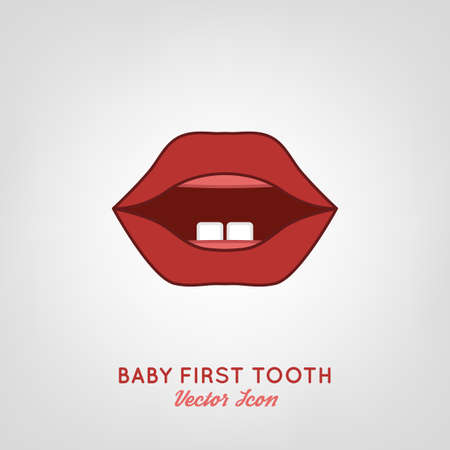 first teeth: Baby First Teeth. Vector illustration in pink and red colours on a light grey background. Medical and healthcare concept. Illustration