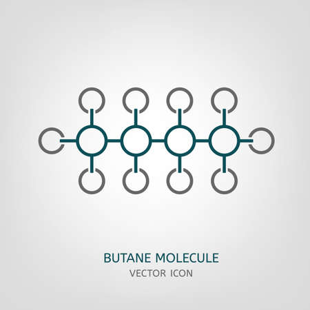 butane: Butane molecule in flat style. C4H10 vector illustration isolated on a light grey background. Scientific, chemical, educational and popular-scientific concept.