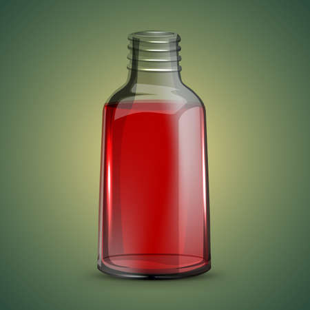 tincture: Open cosmetic or pharmaceutical glossy phial with red liquid. Beautiful vector illustration in realistic style. Illustration