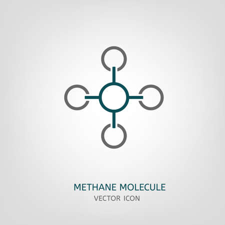 hydride: Methane molecule in flat style. CH4 vector illustration isolated on a light grey background. Scientific, chemical, educational and popular-scientific concept. Illustration