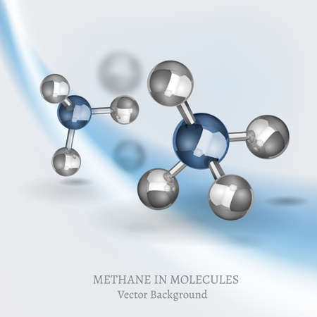 hydride: Scientific backdrop with Methane molecules in 3D style. CH4 vector illustrations isolated on a light background. Chemical, educational and popular-scientific concept.