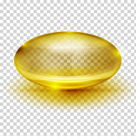 Vector glossy capsule llustration. Transparent golden image with reflections and shadows. Cosmetic, pharmaceutical and medical concept. Ilustração