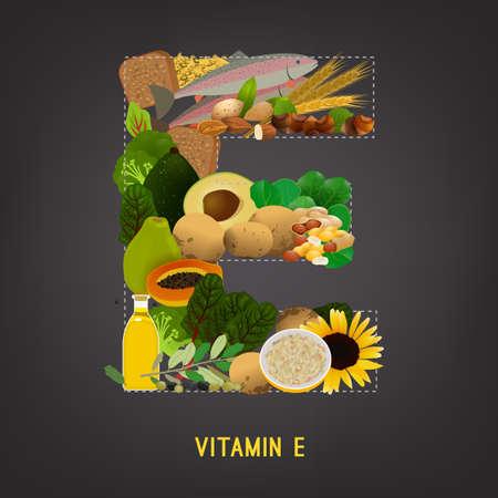 Vitamine E illustration vectorielle. Les aliments contenant de la vitamine E dans une forme de la lettre E. Source de noix de vitamine E, le maïs, les légumes, les poissons, les huiles isolé sur fond gris foncé
