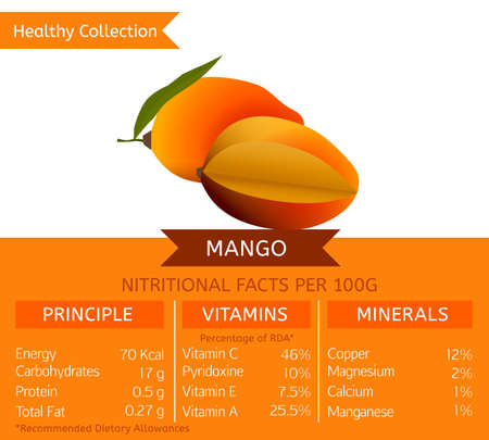 Mango health benefits. Vector illustration with useful nutritional facts. Essential vitamins and minerals in healthy food. Medical, healthcare and dietory concept. Illustration