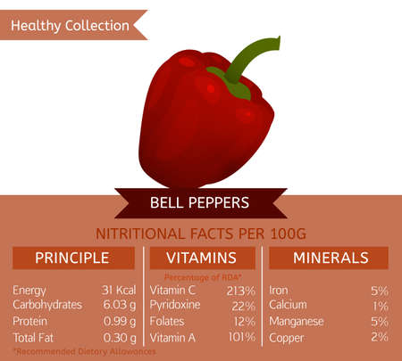 dietology: Bell peppers benefits. Vector illustration with useful nutritional facts. Essential vitamins and minerals in healthy food. Medical, healthcare and dietory concept. Illustration