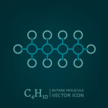 butane: Butane molecule in flat style. C4H10 vector illustration isolated on a dark green background. Scientific, chemical, educational and popular-scientific concept.