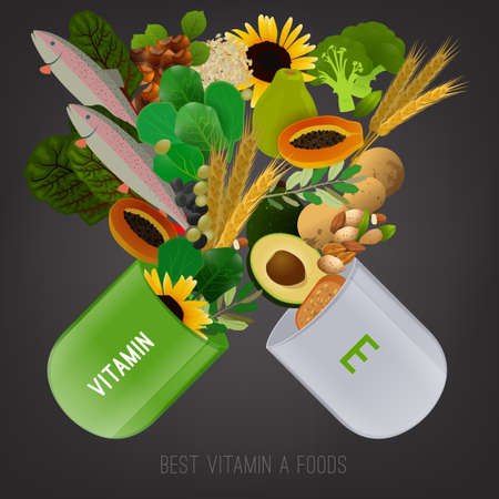vitamin e: Vitamin E vector illustration. Foods containing vitamin E come apart from opened pill. Source of vitamin E - nuts, corn, vegetables, fish, oils isolated on dark grey background Illustration