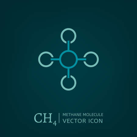 hydride: Methane molecule in flat style. CH4 vector illustration isolated on a dark green background. Scientific, chemical, educational and popular-scientific concept.