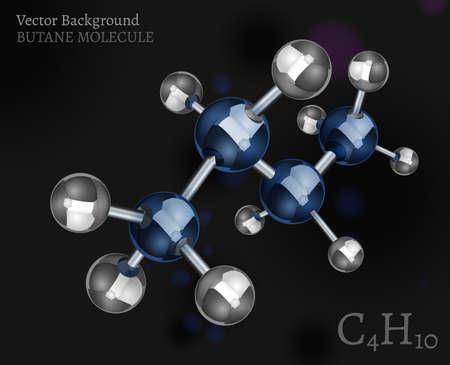 butane: Butane molecule in 3D style. Illustration
