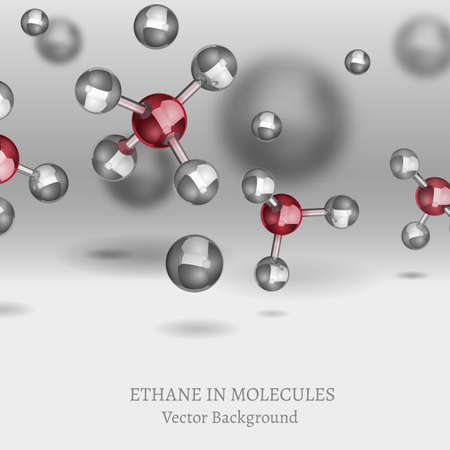Scientific backdrop with ethane molecules in 3D style.