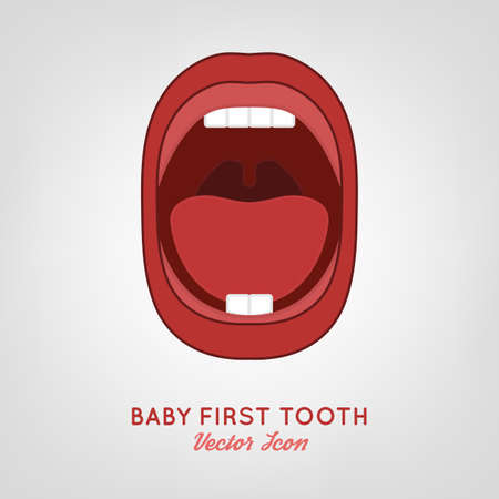 first teeth: Baby First Teeth.  illustration in pink and red colours on a light grey . Medical and healthcare concept.