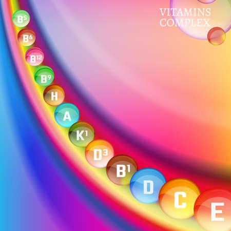Vitamin complex image on a bright