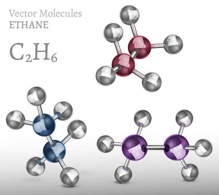 hydride: Ethane molecules set in 3D style. CH4 vector illustration isolated on a white background. Chemical, educational and popular-scientific concept. Illustration