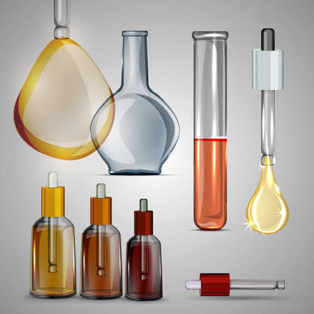 Transparent bottles, droppers, bulbs and test tube set. Beautiful vector illustration on a light grey background. Chemical, cosmetic, healthcare or pharmaceutical elements.l