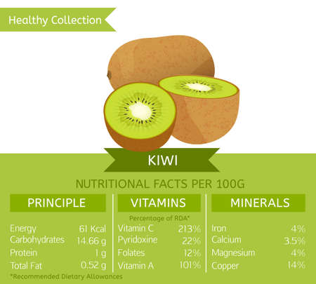 nutritional: Kiwi health benefits. Vector illustration with useful nutritional facts. Essential vitamins and minerals in healthy food. Medical, healthcare and dietory concept.