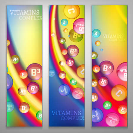 ascorbic: Vitamin complex banners set. Vertical image on a bright background. Vector illustration in rainbow colours with glossy pills. Medical and pharmaceutical concept. Packaging and promotional idea.