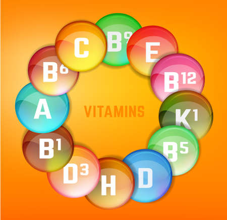vitamin e: Vitamin complex. Different vitamins in pillls. Vector illustration in bright rainbow colours. Medical and pharmaceutical image.