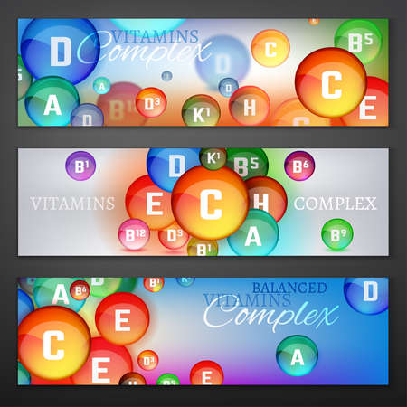 ascorbic: Vitamins Complex Banners Illustration