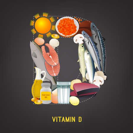 Vitamin D in Food Vectores
