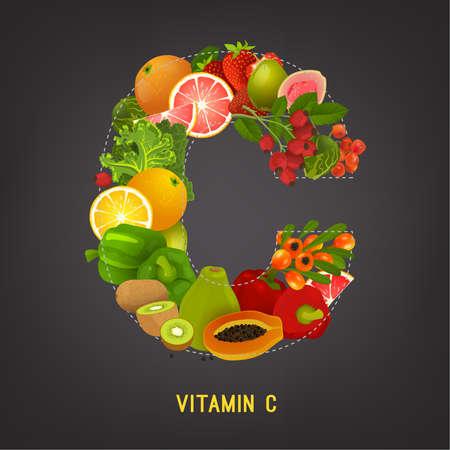 Vitamin C in food image Illustration