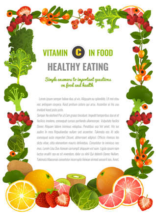ascorbic: Healthy Food Banner Illustration