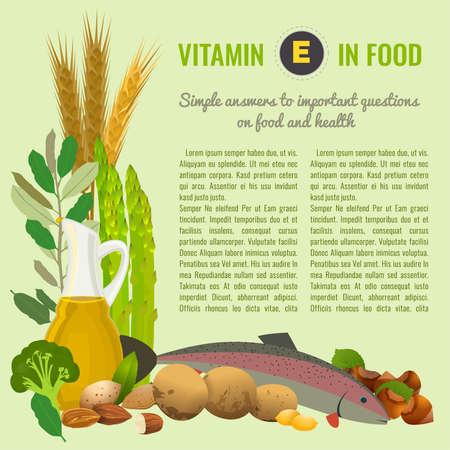 健康食品ビタミン E バナー  イラスト・ベクター素材