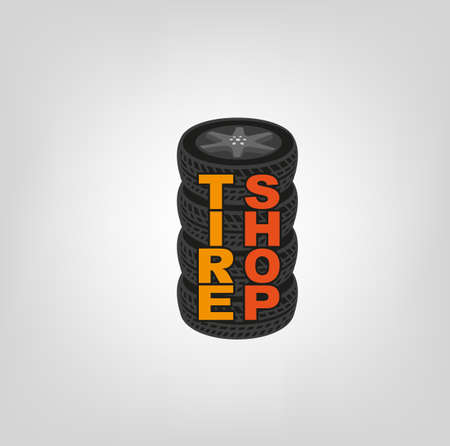tire cover: Car tires image in grey, black and orange colours useful for icon and logotype design on a light background. Realistic graphic style. Transportation automotive concept.Vector illustration Illustration