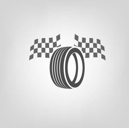 auto service: Car tire icon with finish flags in grey colours useful for icon and logotype design on a light background. Realistic graphic style. Transportation automotive concept. Beautiful vector illustration Illustration