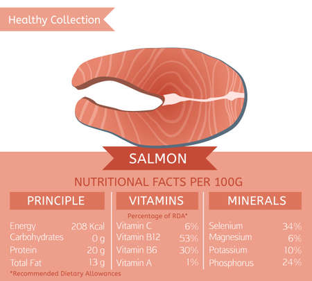 Salmon health benefits. Vector illustration with useful nutritional facts. Essential vitamins and minerals in healthy food. Medical, healthcare and dietary concept. Çizim