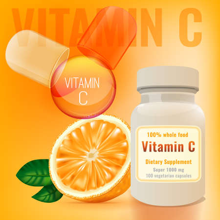 ascorbic acid: Vitamin C package with an orange and opened capsule. Beautiful vector illustration in bright colours. Pharmaceutical and apothecary image