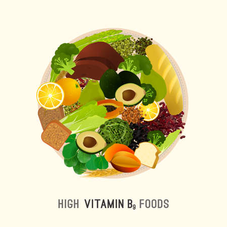 High vitamin B9 foods. Healthy legumes, tropic fruits and vegetables. Vector illustration in bright colours on a light beige background.