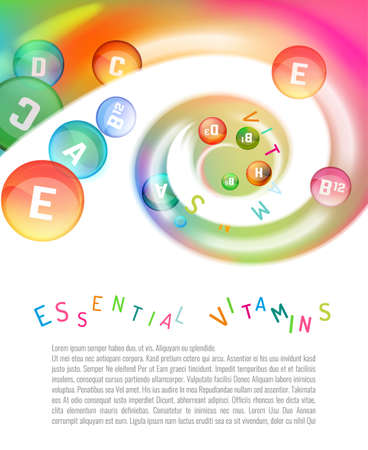 b ball: Vitamin complex. Different vitamins in pills flying in a swirl. Vector illustration in bright rainbow colours. Beautiful template with copyspace for leaflet, brochure, poster or advertorial design.