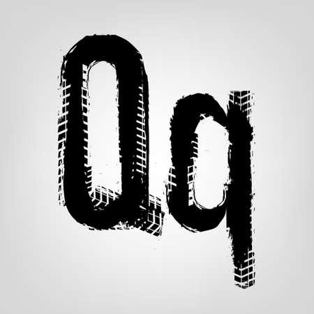 tread: Grunge Tire Letter
