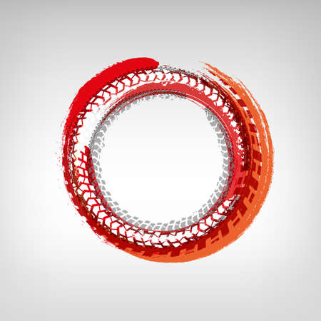 Tire track circle grunge frame. Digital vector illustration. Background element useful for poster, print, flyer, booklet, brochure and leaflet design. Graphic image in white, orange and red colors.