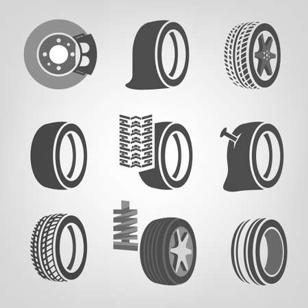 tire cover: Beautiful vector illustration of a tire shop images useful for icon and logotype design on a light background. Realistic graphic style. Transportation automotive concept. Digital pictogram collection