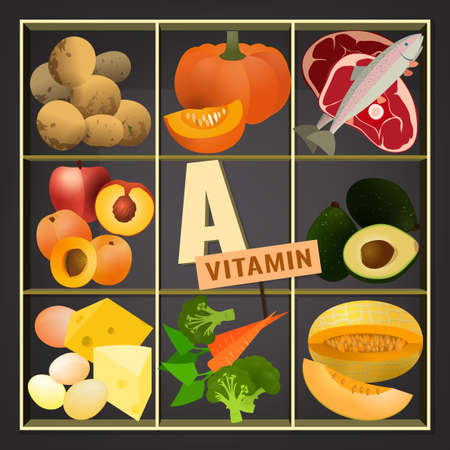 sectional: Set of healthy fruit, vegetables, meat, fish and dairy products containing vitamin A. Food sources graphic information. Vector illustration in bright colours on a dark grey background.