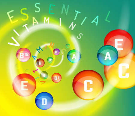 Essential vitamin complex. Creative background with different vitamins in glossy pills flying in a colourful swirl. Vector illustration in rainbow colours. Medical, dietary and pharmaceutical image. Illustration