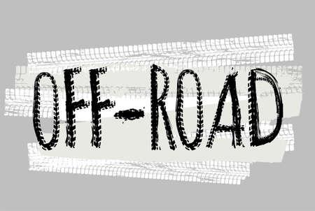 Off-Road hand getekend grunge belettering. Tyre volgt woorden gemaakt van unieke letters. Prachtige vectorillustratie. Bewerkbaar grafisch element in witte en zwarte kleuren.